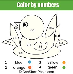 Children educational game. Mathematics coloring page with duck. Solve equations and color picture