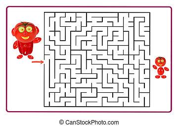children., engraçado, jogo, pré-escolar, labirinto