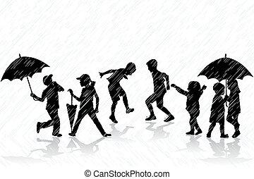 Children enjoy the rain