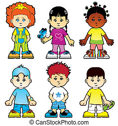 Children - Six cute characters of girls and boys