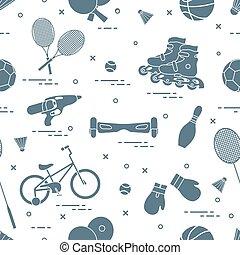 children., equipo, actividades de deportes