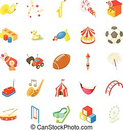 Children event icons set, cartoon style