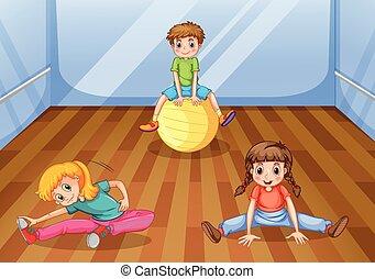 Children exercising in the room