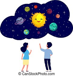 Children exploring planets. Astronomy lesson, kids at ...