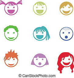 children face icons