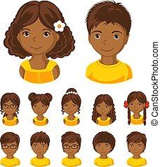 Children face set.