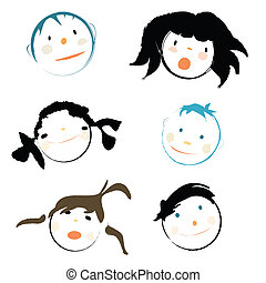 Children faces on white background, vector illustration