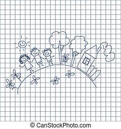 children., family., glücklich, vater, mutter