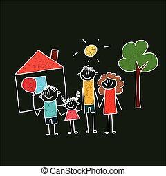 children., family., heureux, père, mère