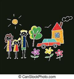 children., family., szczęśliwy, ojciec, macierz