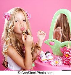 children fashion doll little girl lipstick makeup in pink vanity with mirror