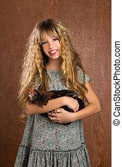 children fashion farmer girl holding hen retro vintage