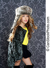 children fashion girl winter leopard coat and fur hat