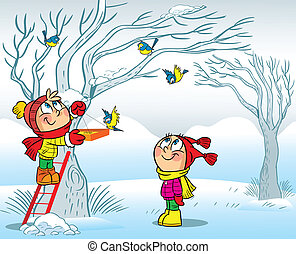 Children Fed Birds In Winter