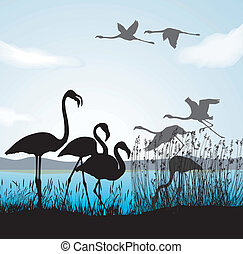 Children fed birds - Vector black illustration silhouettes...