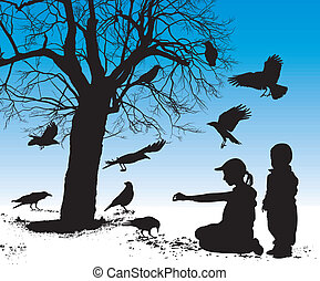 Children fed birds