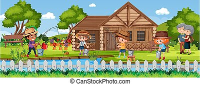 Children fishing in nature scene