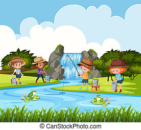 Children fishing in outdoor scene