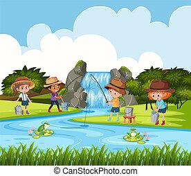 Children fishing in outdoor scene