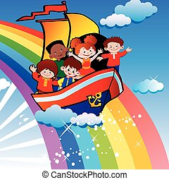 Children floating over the rainbow. Happy childhood. Vector ...