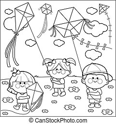 Children flying kites coloring book