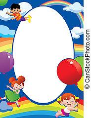 Children flying on balloons.