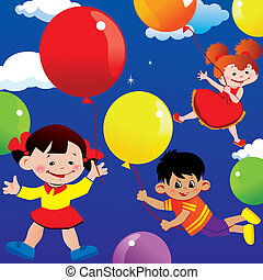 Children flying on balloons.