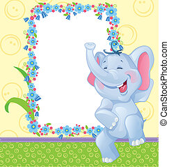Children frame with elephant