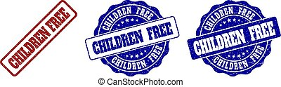 CHILDREN FREE Scratched Stamp Seals