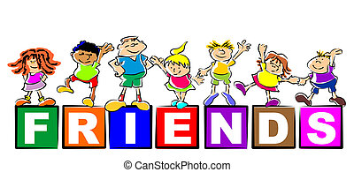Conceptual image to promote friendship and fellowship among preschoolers. Group of seven happy kids standing on the letters of the word