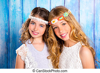 Children friends girls hippie retro style smiling together -...