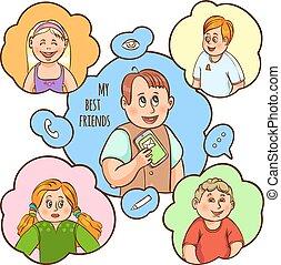 Children Friendship Cartoon Concept - Child and their amity...