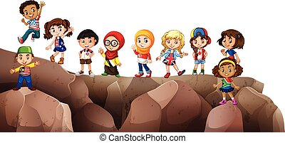 Children from different countries on the cliff illustration