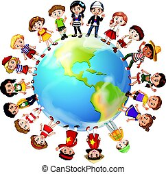 Children from many countries around the world illustration