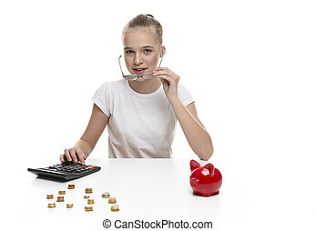Children Frugal Concepts. Blond Teenage Girl Posing With Coins and Moneybox. Calculating Income With Calculator For Savings.Horizontal Image