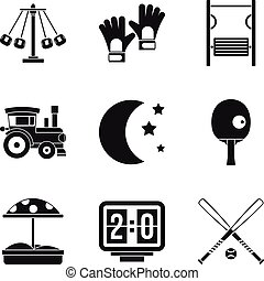Children fun icons set, simple style