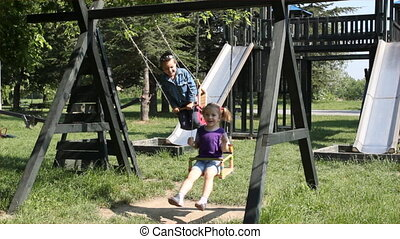 children fun on swing