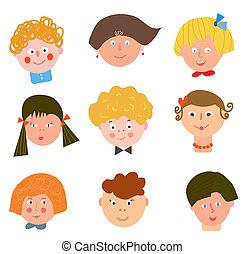 Children funny faces set cartoons