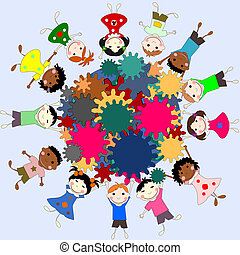 Children -future minds in the world, the concept of children of different races with gears in hands