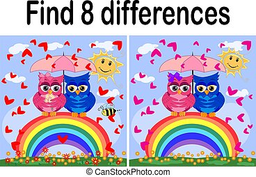 Children games: Find differences. Little cute owl sits on...