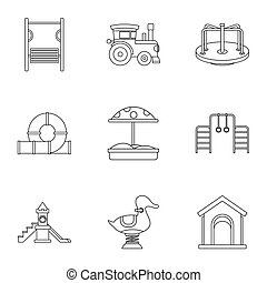 Children games icons set, outline style