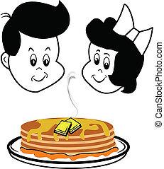children gazing at pancakes - boy and girl staring at...