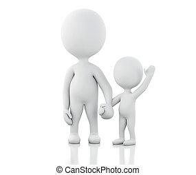 children., genitori, 3d