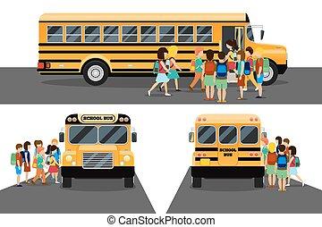 Children get on school bus. Transportation pupil or student, transport and automobile. Vector illustration
