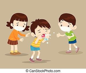 Child blow the nose. Cute boy using tissue to wipe snot from his nose. coughing child to friend