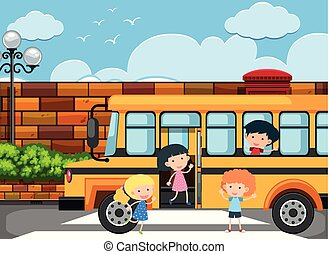 Children getting off the school bus illustration