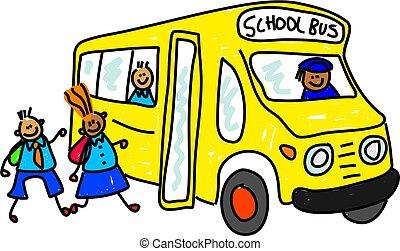 school bus - children getting onto school bus - toddler art...