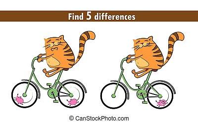 children:, gioco, trovare, differenze