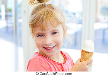 children girl happy with cone icecream