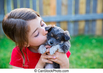children girl kissing her puppy chihuahua doggy on the wood...